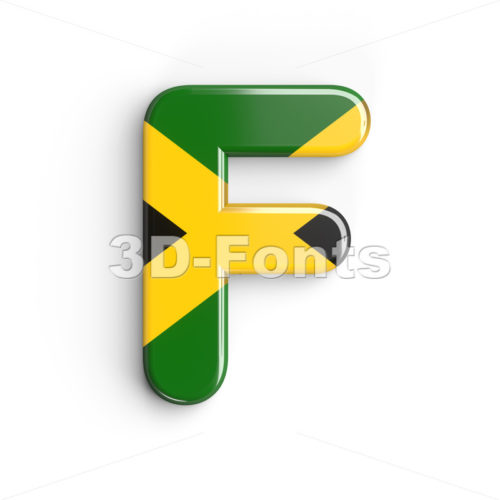 jamaica flag letter F - Upper-case 3d font - 3d-fonts