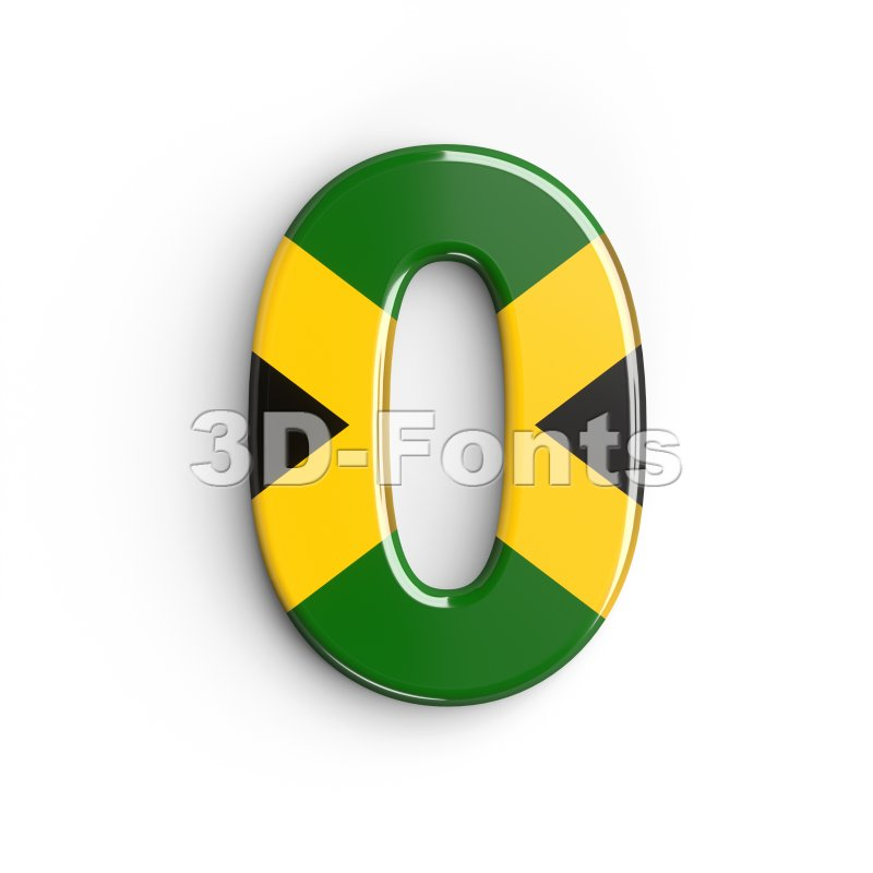 jamaica number 0 - 3d digit - 3d-fonts