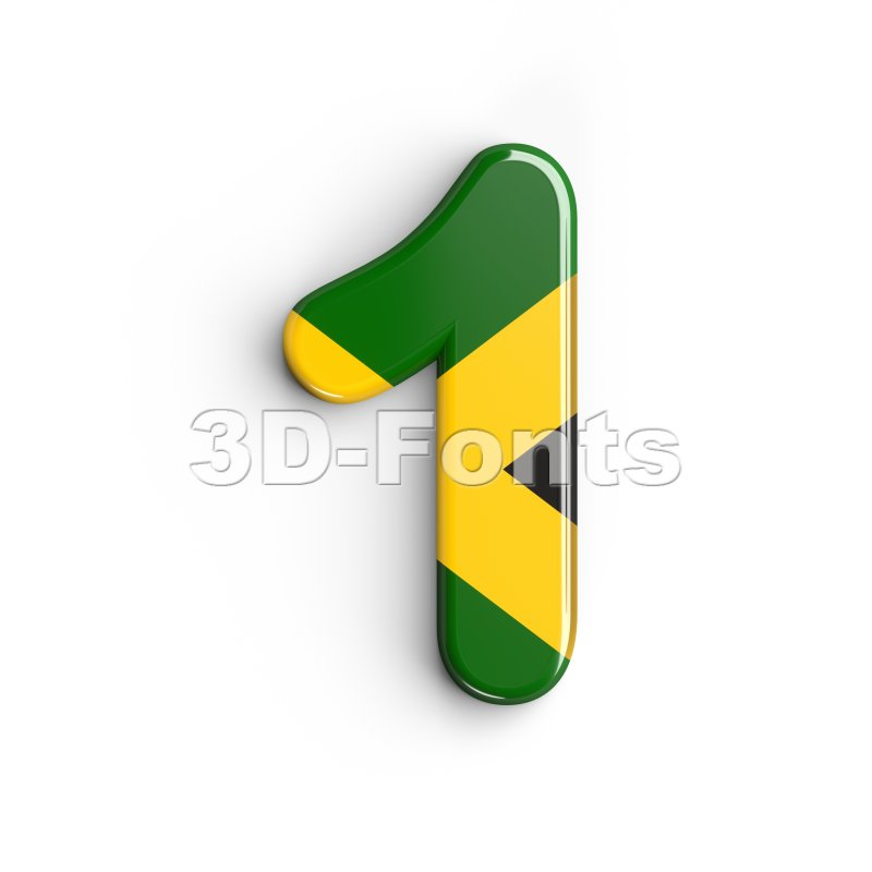 jamaica number 1 - 3d digit - 3d-fonts