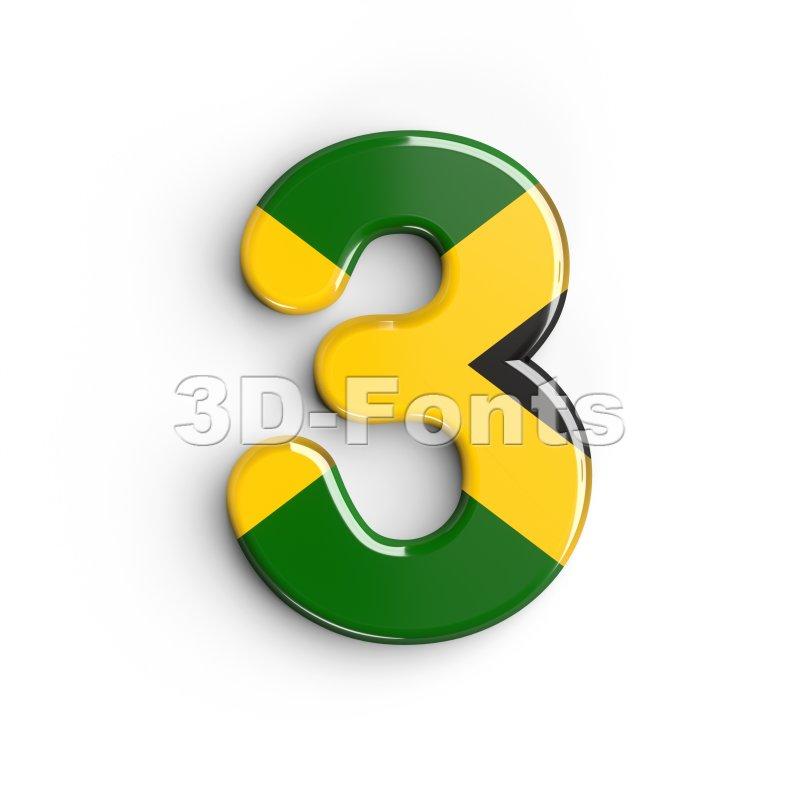 jamaica number 3 - 3d digit - 3d-fonts