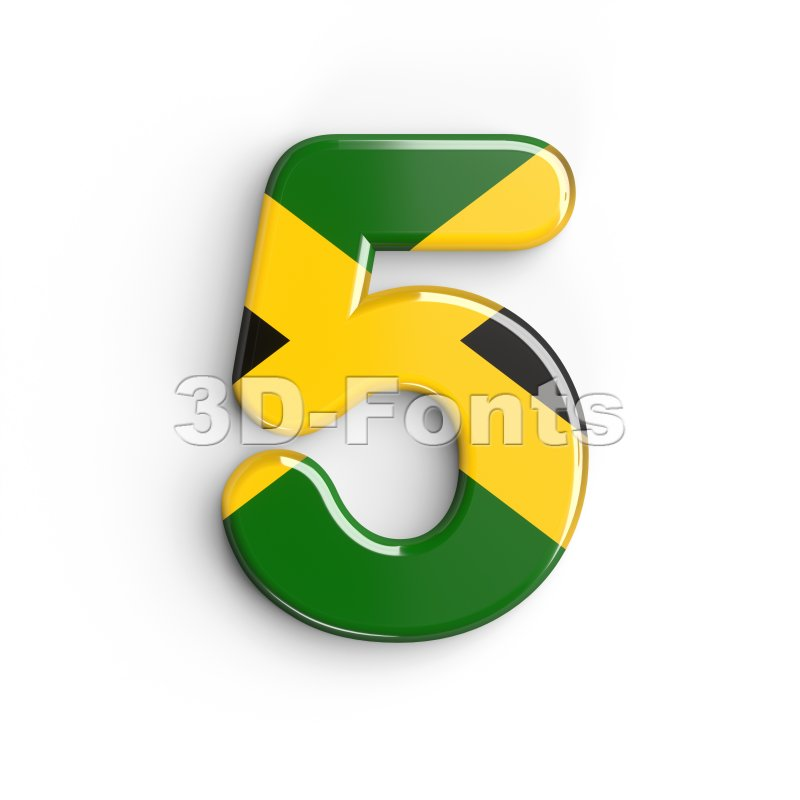 jamaica number 5 - 3d digit - 3d-fonts