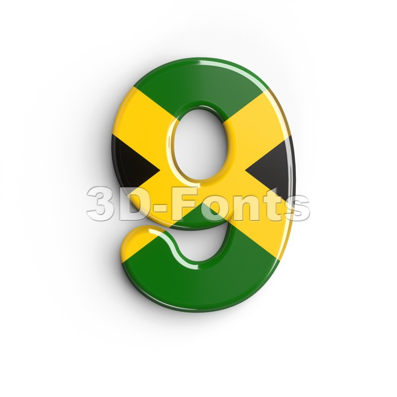 jamaica number 9 - 3d digit - 3d-fonts