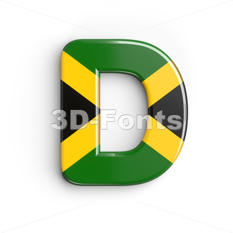 jamaican flag font D - Capital 3d character - 3d-fonts