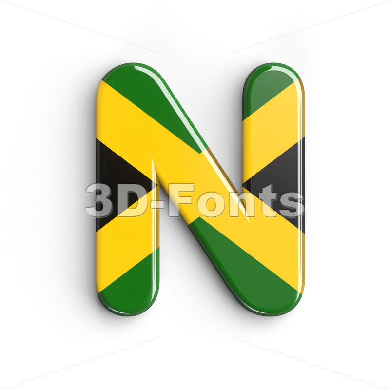 jamaican flag font N - Capital 3d letter - 3d-fonts