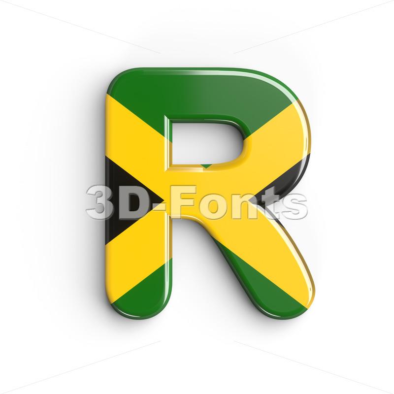 jamaican flag letter R - Uppercase 3d font - 3d-fonts