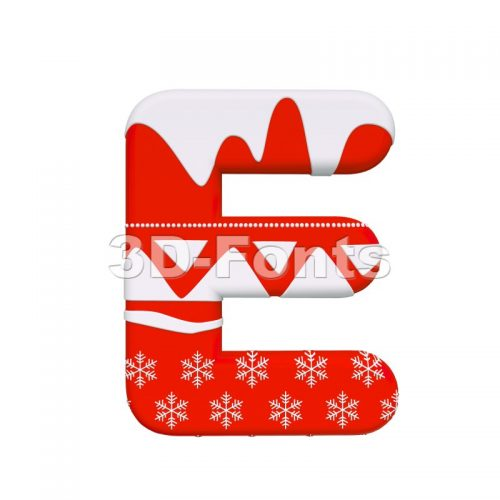 3d Capital character E covered in Red christmas texture - 3d-fonts