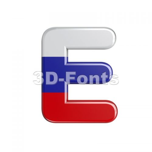 3d Capital character E covered in Russia flag texture - 3d-fonts