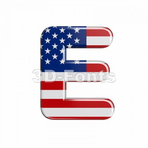 3d Capital character E covered in american flag texture - 3d-fonts