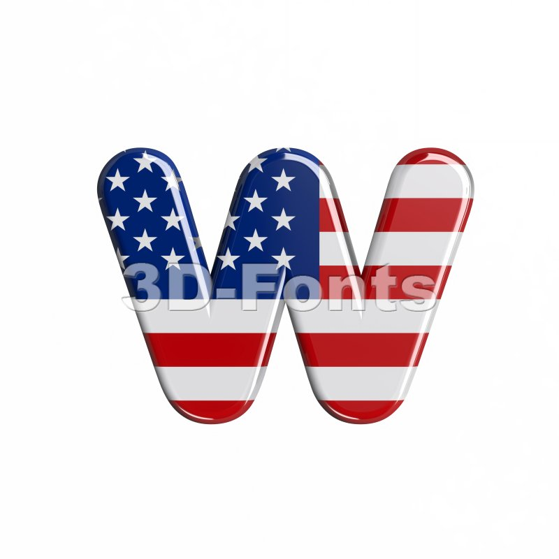 3d Lower-case letter W covered in USA  flag texture - 3d-fonts
