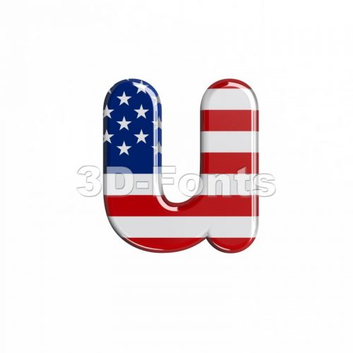 3d Small character U covered in american flag texture - 3d-fonts