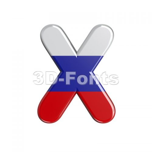 3d Upper-case character X covered in Russia flag texture - 3d-fonts