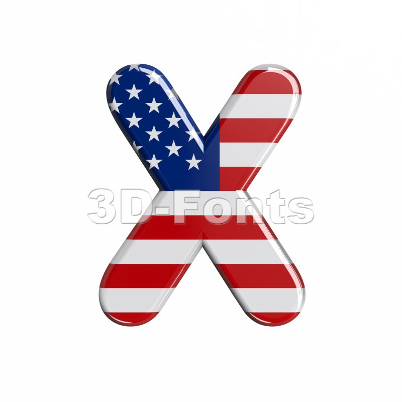 3d Upper-case character X covered in american flag texture - 3d-fonts