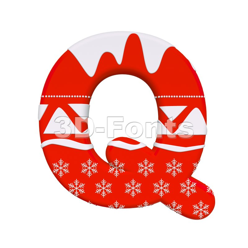 3d Upper-case font Q covered in Red christmas texture - 3d-fonts