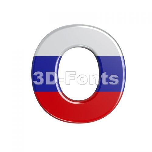 3d Upper-case letter O covered in Russia texture - 3d-fonts