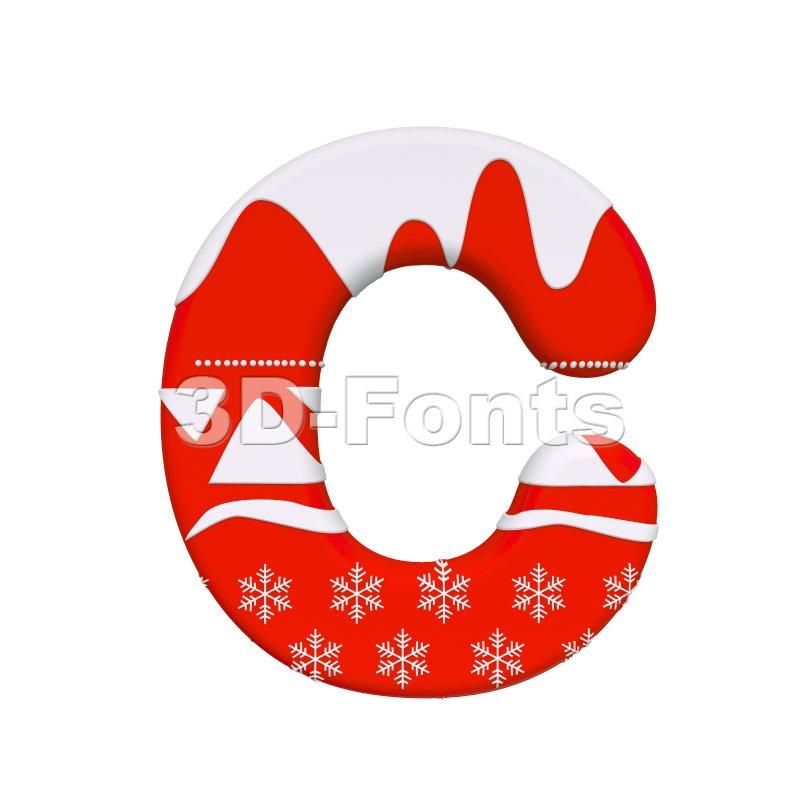 3d christmas font C - Capital 3d letter - 3d-fonts