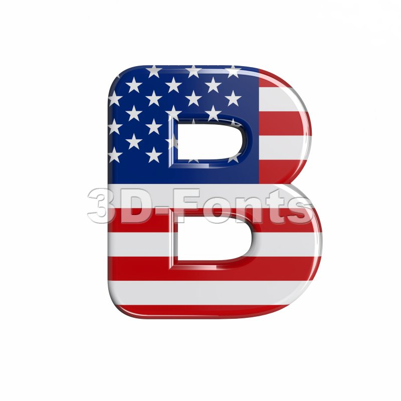Capital american letter B - Upper-case 3d font - 3d-fonts