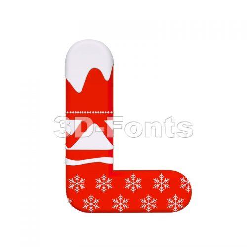 Red christmas 3d font L - Capital 3d character - 3d-fonts