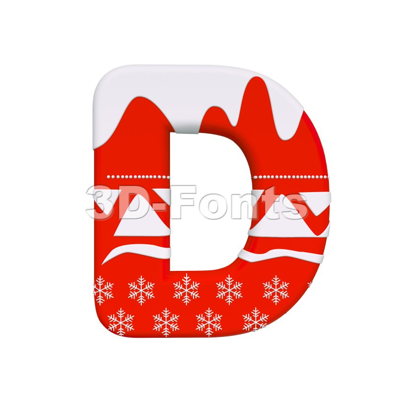 Red christmas font D - Capital 3d character - 3d-fonts