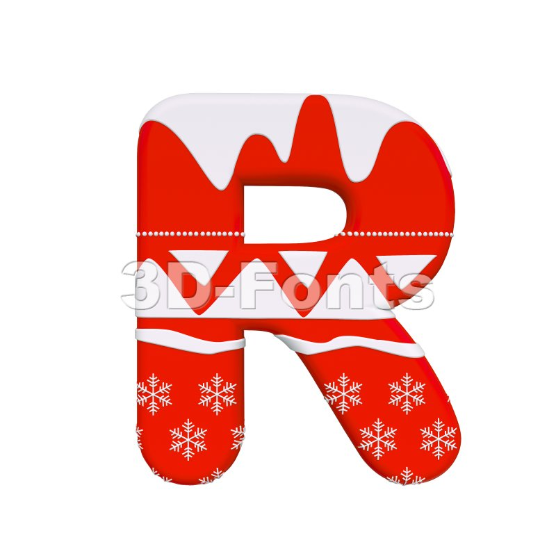 Red christmas letter R - Uppercase 3d font - 3d-fonts
