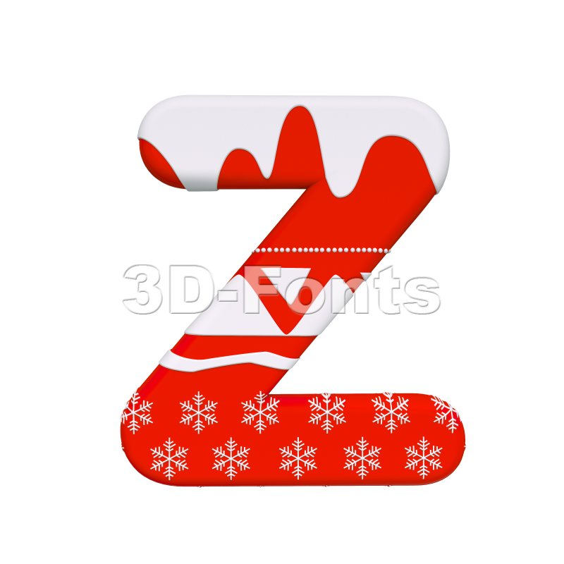 Red christmas letter Z - Upper-case 3d font - 3d-fonts