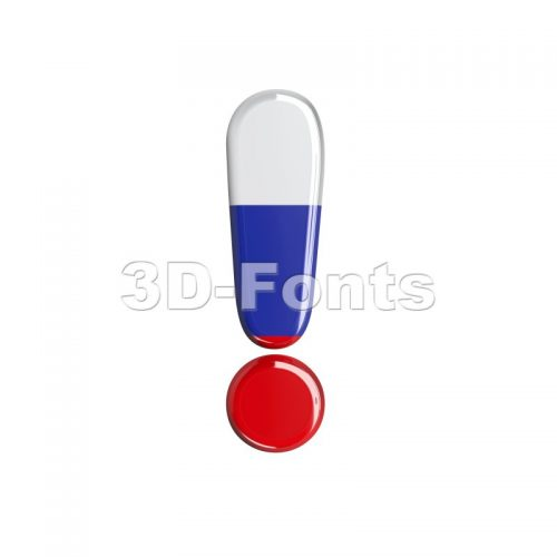 Russian exclamation point - 3d symbol - 3d-fonts