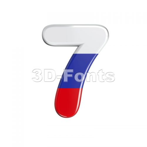 Russian number 7 - 3d digit - 3d-fonts