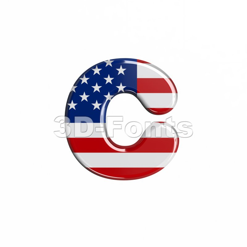Small USA font C - Lowercase 3d character - 3d-fonts