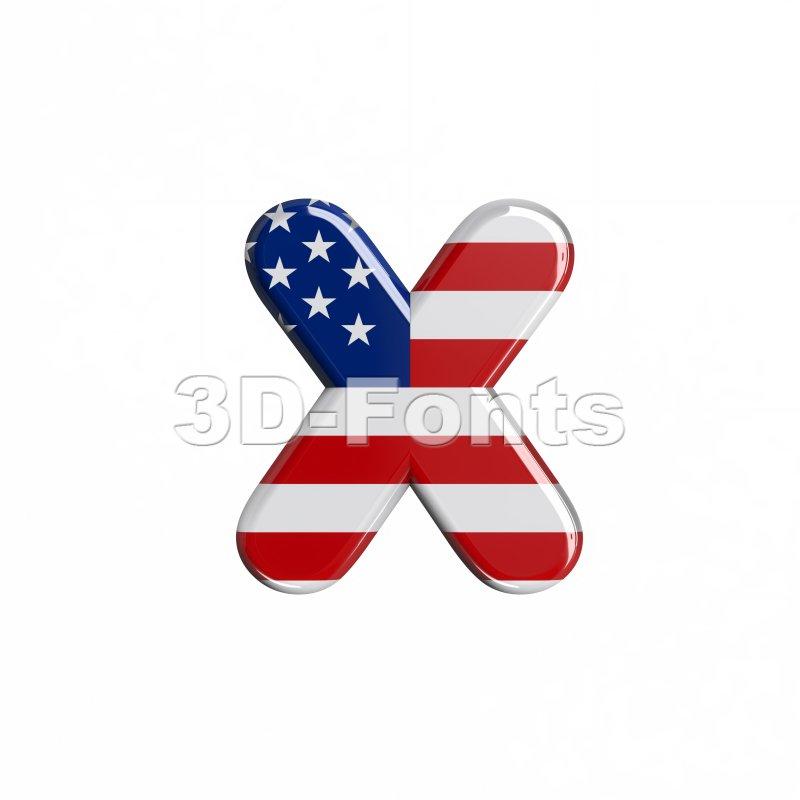 USA 3d font X - Small 3d letter - 3d-fonts