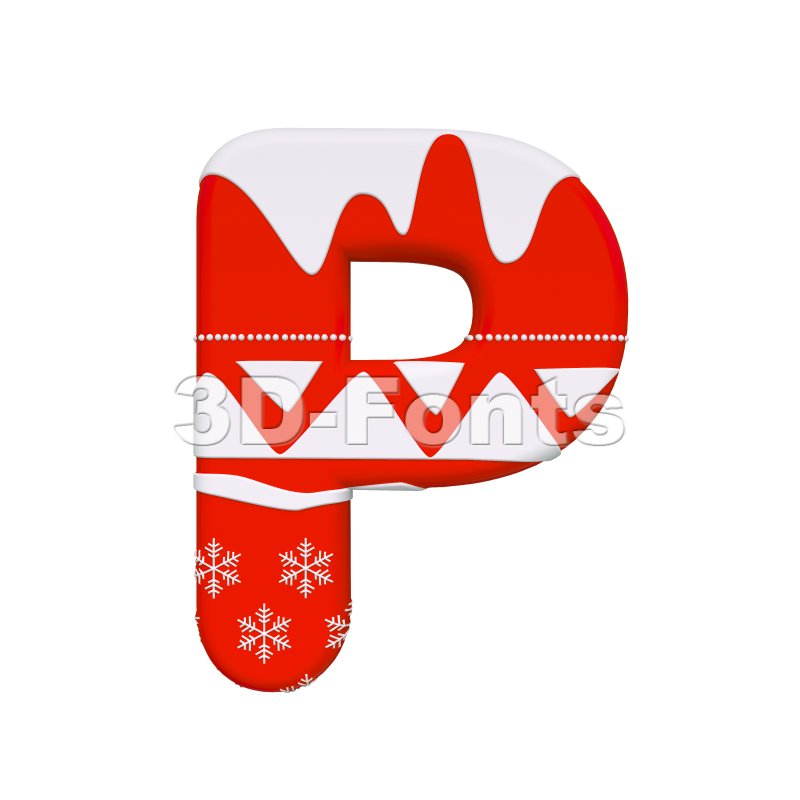 Upper-case Red christmas character P - Capital 3d font - 3d-fonts
