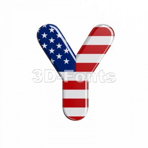 Upper-case USA font Y - Capital 3d character - 3d-fonts