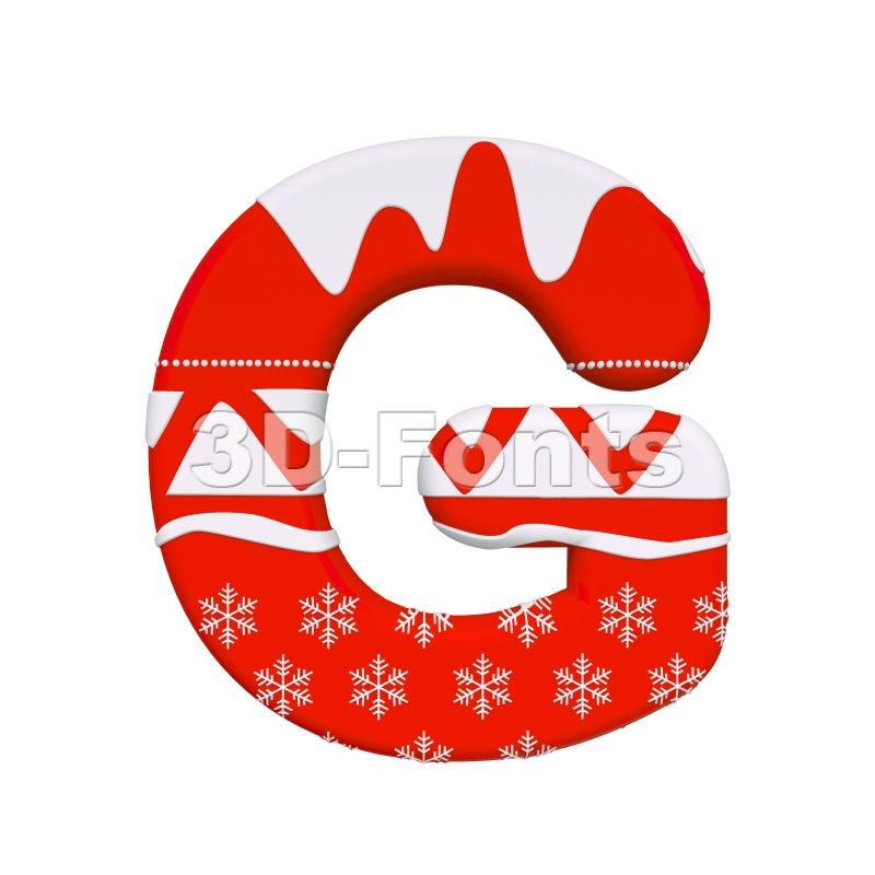 Upper-case christmas character G - Capital 3d font - 3d-fonts