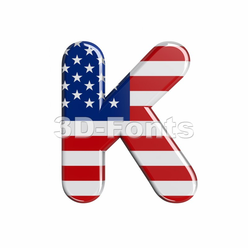Uppercase USA letter K - Capital 3d font - 3d-fonts