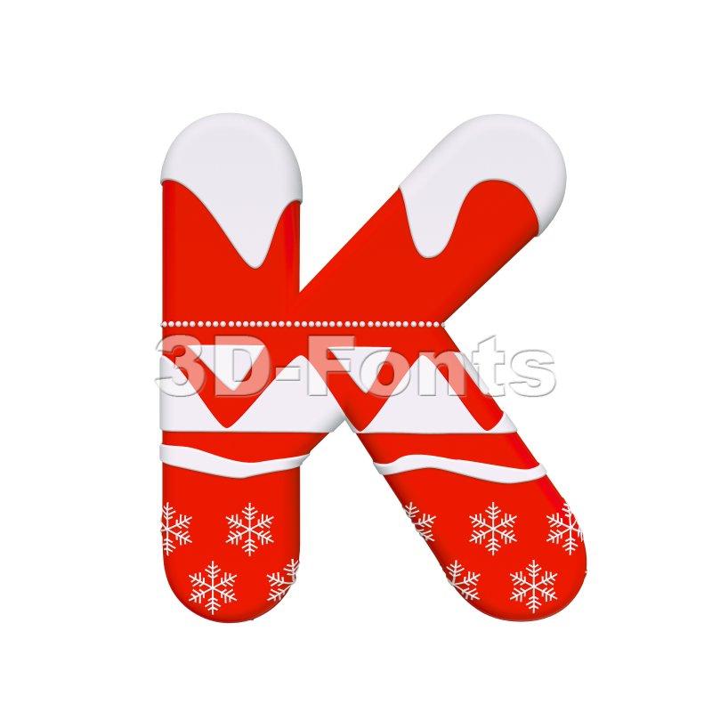 Uppercase christmas letter K - Capital 3d font - 3d-fonts