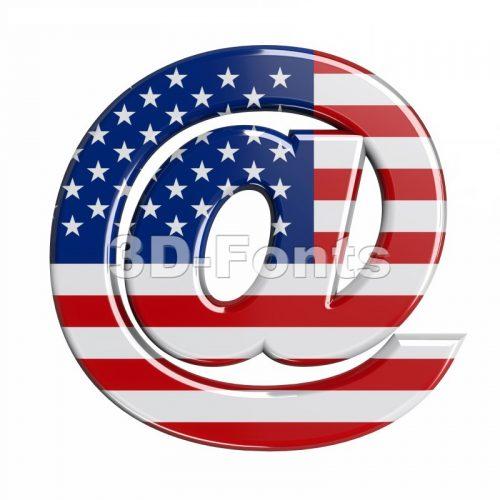 american at-sign - 3d arobase symbol - 3d-fonts