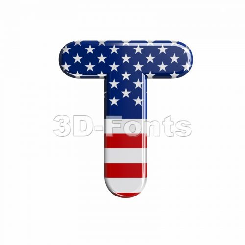 american character T - Uppercase 3d letter - 3d-fonts