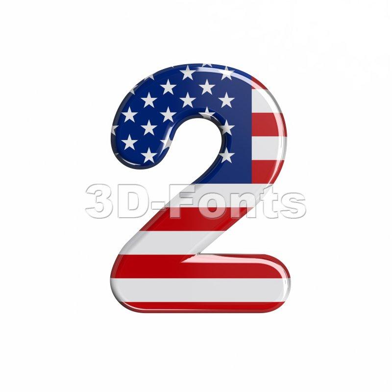american digit 2 - 3d number - 3d-fonts