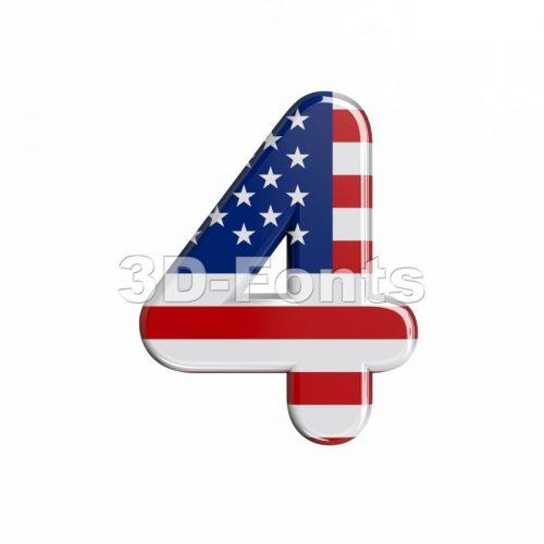 american digit 4 - 3d number - 3d-fonts