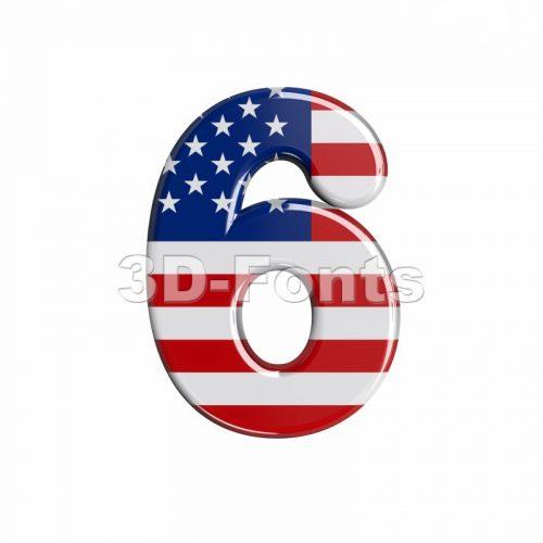 american digit 6 - 3d number - 3d-fonts