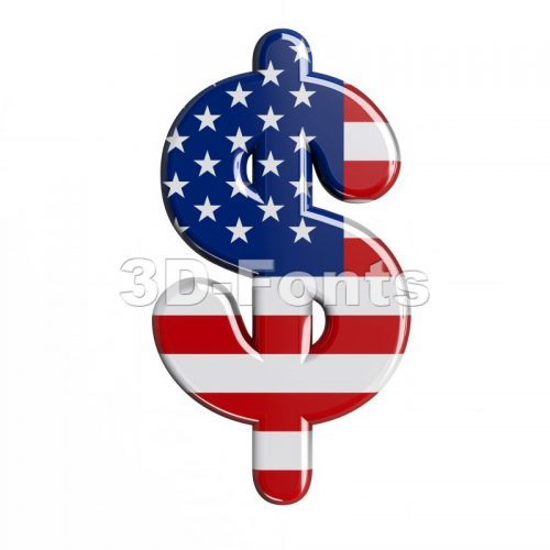 american dollar currency sign - 3d money symbol - 3d-fonts
