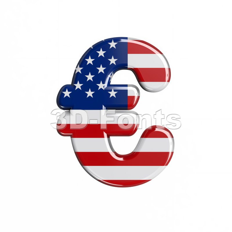 american euro currency sign - 3d business symbol - 3d-fonts