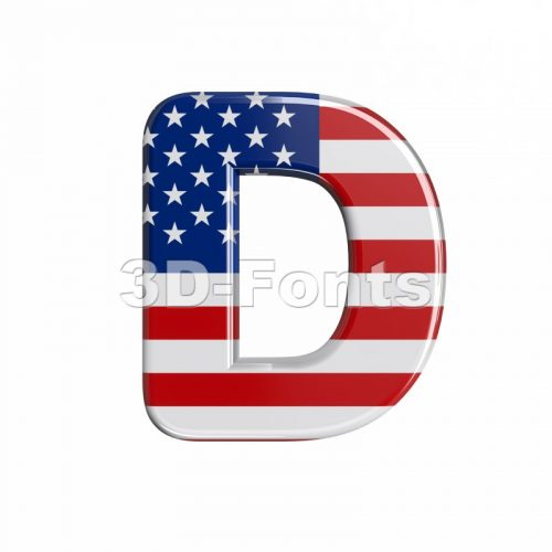 american flag font D - Capital 3d character - 3d-fonts