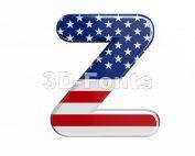 american flag letter Z - Upper-case 3d font - 3d-fonts.com