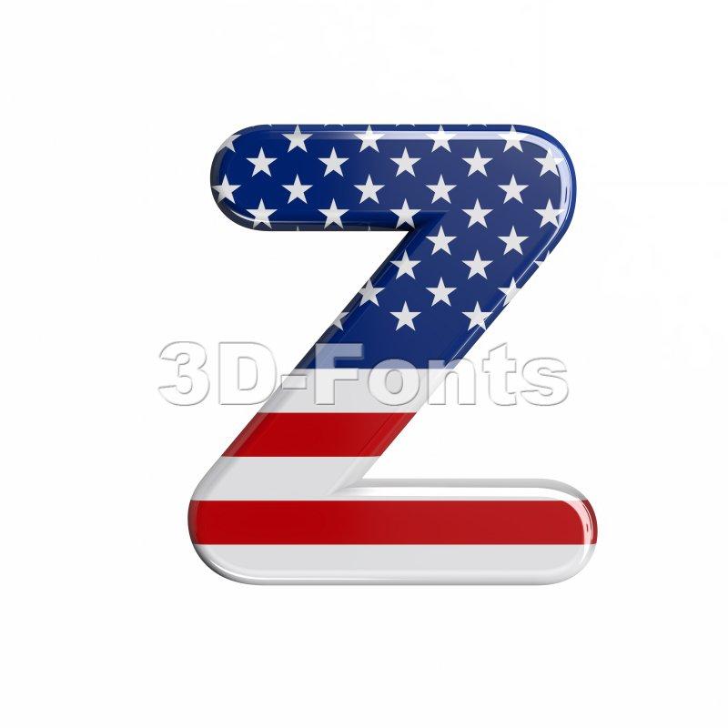 american flag letter Z - Upper-case 3d font - 3d-fonts