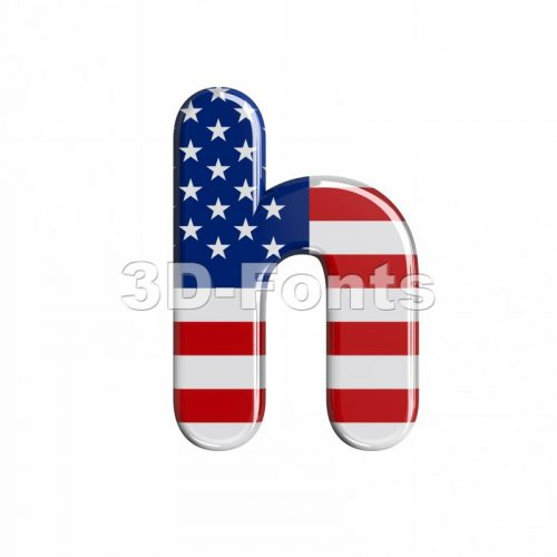 american font H - Lower-case 3d letter - 3d-fonts