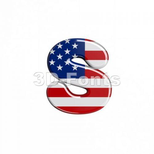 american letter S - Lowercase 3d font - 3d-fonts