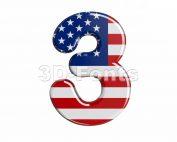 american number 3 - 3d digit - 3d-fonts.com