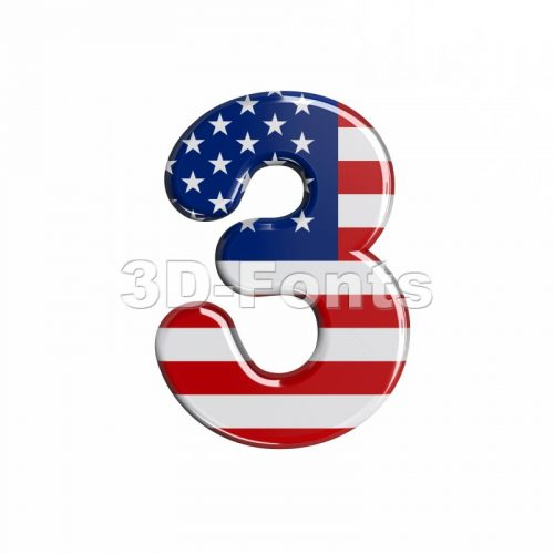 american number 3 - 3d digit - 3d-fonts