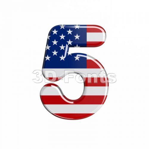 american number 5 - 3d digit - 3d-fonts