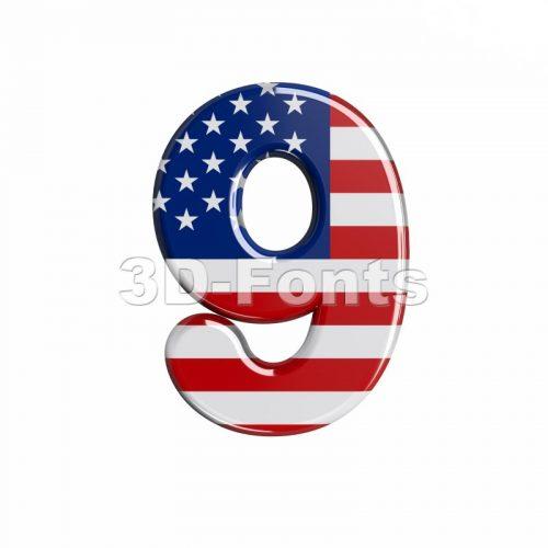 american number 9 - 3d digit - 3d-fonts
