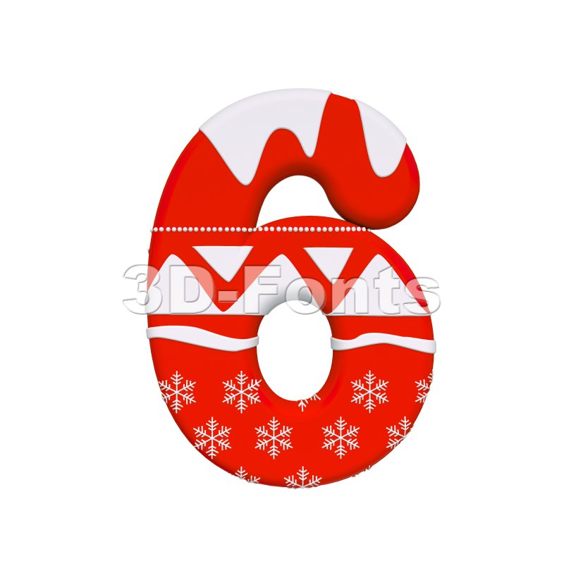 christmas digit 6 - 3d number - 3d-fonts